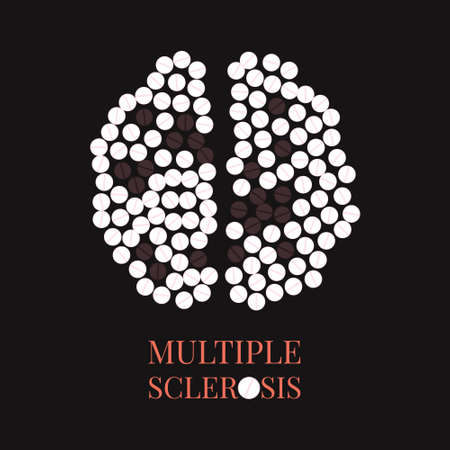 Multiple sclerosis awareness poster with brain made of pills on black background. MS awareness sign. Top view. Medical solidarity day concept. Vector illustration. Illustration