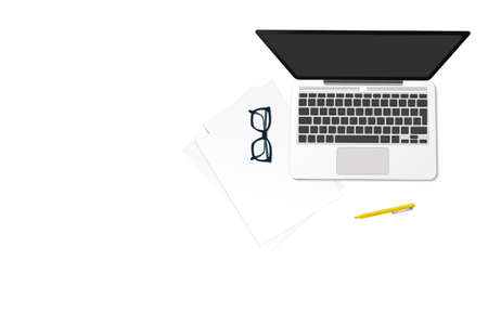 Minimalistic workspace mock up set. Flat lay top view on realistic laptop, glasses, paper and pen. Freelance, distant work and online studying concept. Vector  illustration. 矢量图像