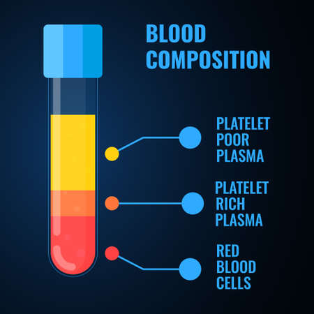 Blood composition medical infographics poster of a test-tube