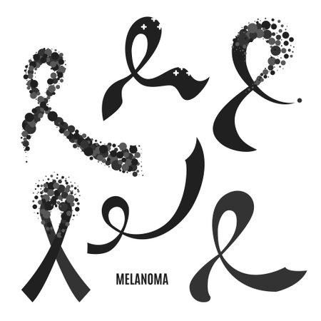 Melanoma skin cancer awareness black ribbon collection set