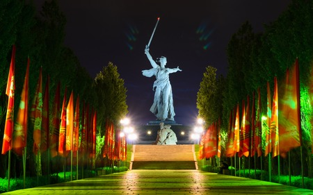 welcome mat: Motherland monument in Stalingrad. Night photo. February 23, May 9, Victory Day Stock Photo
