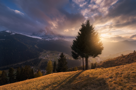 selva: Italy. Dolomites. Sunset at the village of Selva di Val Gardena