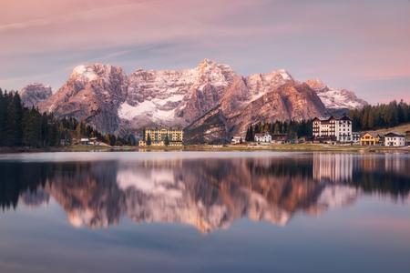 lake misurina: Italy. Dolomites. Morning on Lake Misurina