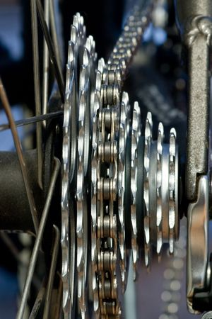 Rear mountain bike cassette on the wheel with chain Stock Photo - 2712633