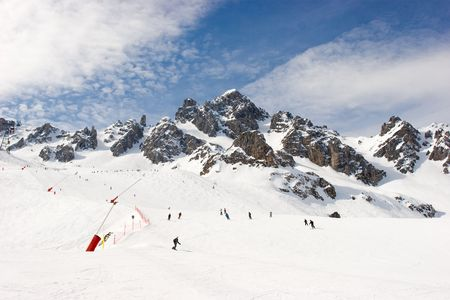 Piste at Courchevel ski resort, French Alps Stock Photo - 2767786