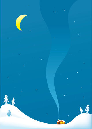 snowbank: Winter snowy  landscape with moon and house  background Illustration