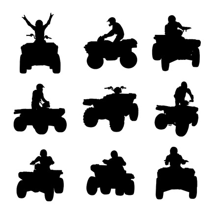 quad: Sportsman riding quad bike silhouettes Illustration