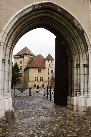 Arc entrance to the Annecy Castle (Chateau  dAnnecy) at town of Annecy in the Haute-Savoie departement of  France photo
