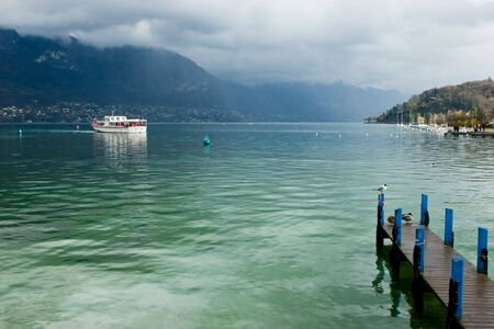pleasure craft: Pleasure boat at the Europes cleanest Lake Annecy, Haute-Savoie,  France