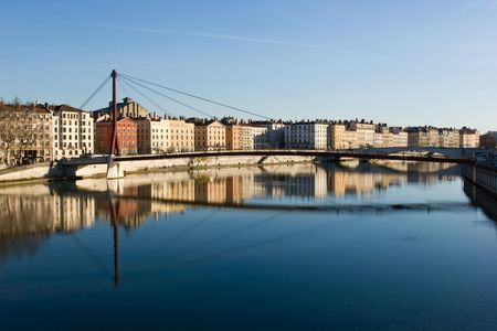 lyon: The bank of the Saone river at the city of Lyon in east-central France