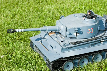 German heavy tank of World War II model on a  grass photo