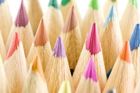 Peak like colored pencils macro, shallow focus photo