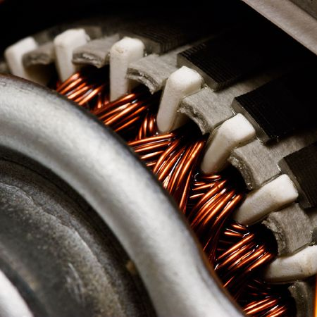 Electric motor rotor close-up, selective focus