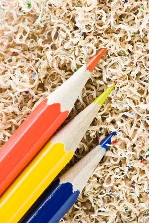 cutting edge: Wooden colored pencils in a shaving