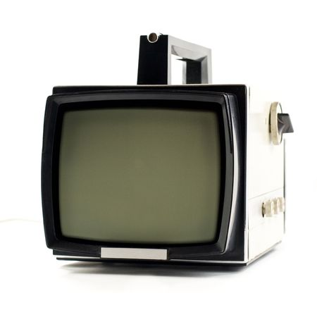 Vintage portable Television set isolated on white background Stock Photo - 3478108