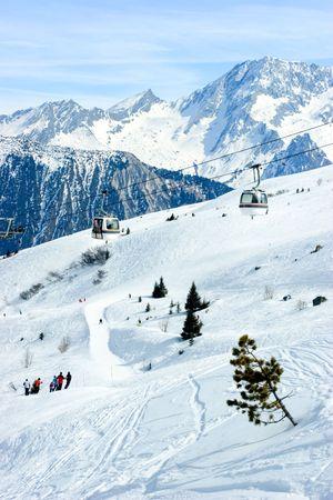 Gondola lift at  Courchevel ski resort, French Alps photo