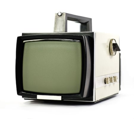 telly: Vintage portable Television set isolated on white background