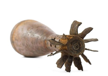 Old rusted World War II mortar shell isolated, selective focus Stock Photo - 3552632