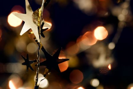 Christmas decoration with blurred lights in  Stock Photo