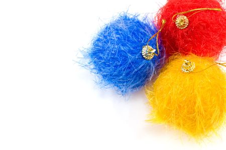 nappy new year: Fluffy christmas baubles on white background Stock Photo