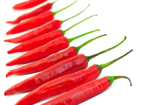 pungent: Red hot chili peppers, selective focus Stock Photo