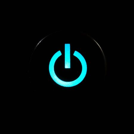 Blue glowing power button on black background Stock Photo - 3729712