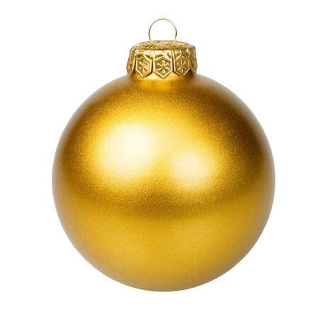 Natale bauble d'oro su sfondo bianco