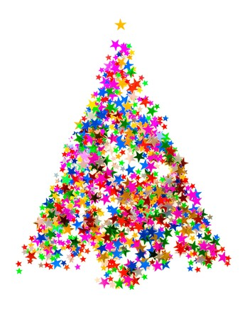 Christmas tree made from star shaped confetti on white photo