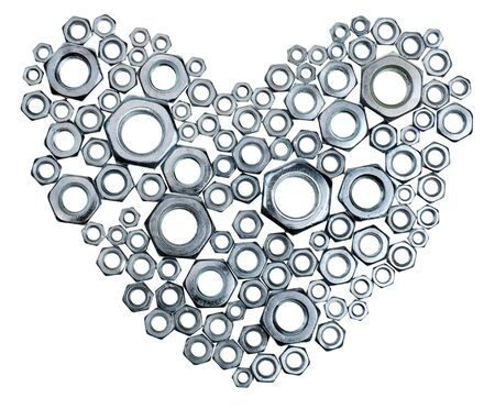 Nuts in the shape of heart on white background Stock Photo - 4178867