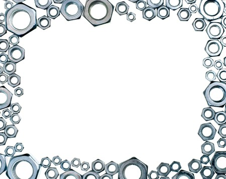 hex: Hex nuts picture frame Stock Photo