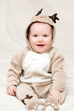 Little baby girl in deer costume Stock Photo - 4202565