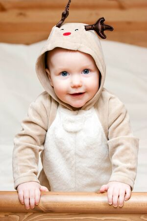Little baby girl in deer costume Stock Photo - 4202567