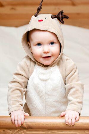 Little baby girl in deer costume