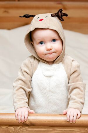 Little baby girl in deer costume Stock Photo - 4202568