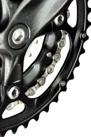 Mountain bike crankset with chain on white background Stock Photo - 4351216
