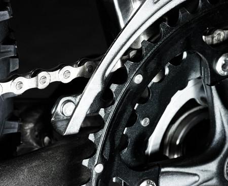 Mountain bike  front derailleur, crankset and chain Stock Photo - 4351215