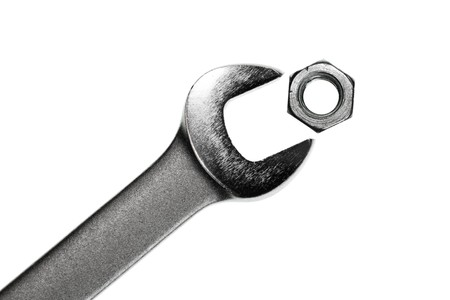 Open-end wrench with hex nut on white background Stock Photo - 4470301