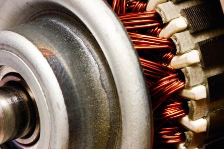 magnetismo: Motore elettrico del rotore close-up, messa a fuoco selettiva
