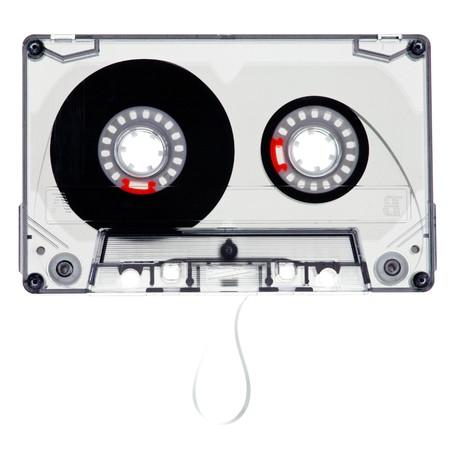 tape cassette: Vintage Transparent Compact Cassette on white background