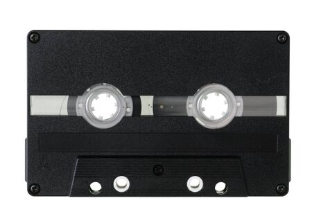 analogue: Black Compact Cassette on white background Stock Photo