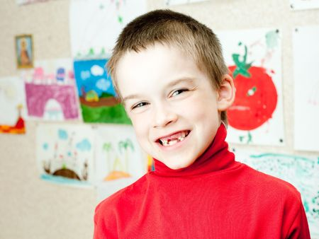 Smiling boy shows lost deciduous teeth Stock Photo - 5012174