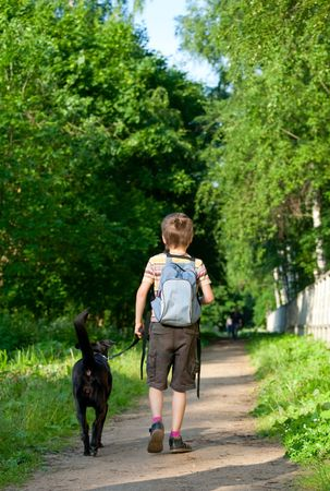 Young boy walking with black dog Stock Photo - 5111484