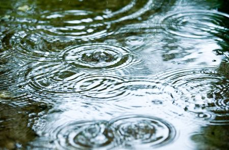 rippling: Rain drops rippling in a puddle Stock Photo