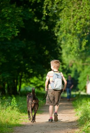 walking paths: Young boy walking with black dog