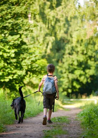 park path: Young boy walking with black dog