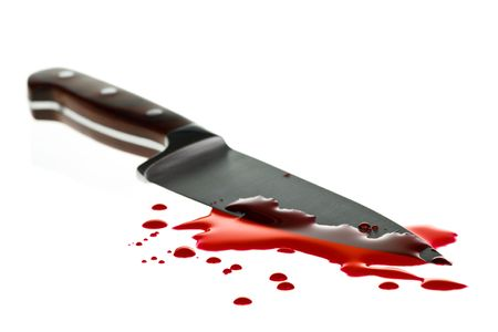 Red blood splatter with  kitchen knife, shallow DOF Stock Photo - 5183789