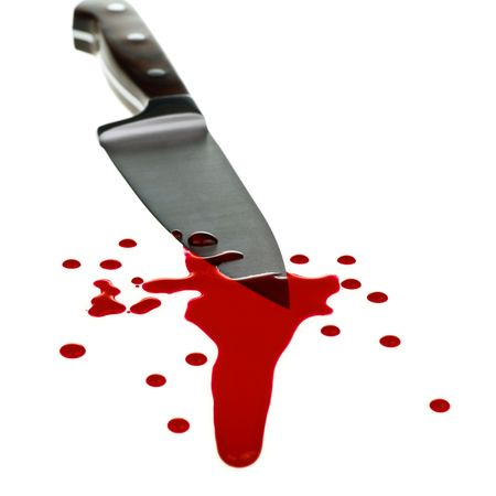 cut and blood: Red blood flows down from kitchen knife Stock Photo