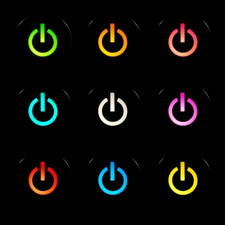 Glowing power buttons on black background Stock Photo - 5277298