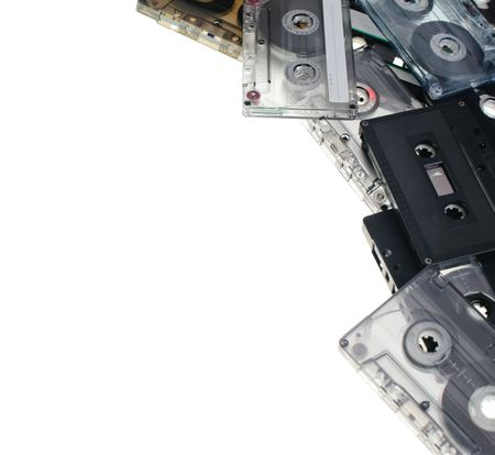 Heap of Compact Cassettes on white background Stock Photo - 5312168