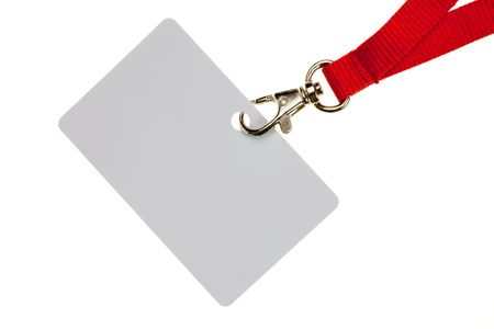 Blank badge with red neckband on white background photo